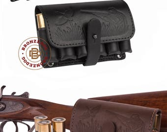 Leather Cartridge Holder, Belt Cartridge Holder, Shell Cartridge Wallet Pouch Shotgun Rifle