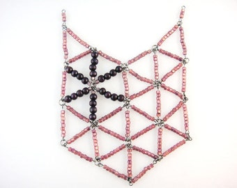 Purple Beaded Geodesic Bib Necklace : Quamby Designs (QDWD)