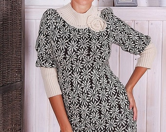 """Warm knitted dress """"Melody Fall"""", stylish and comfortable, good choice for rest and for work."""