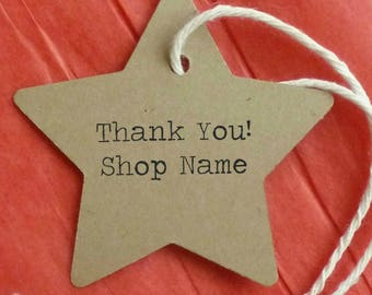 25 gift tags star tags clothing price tags thank you tags kraft tags w twine merchandise tags craft supplies personalized tags hang tags