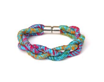 Colorful Braided Rope Bracelet For Women, Boho Bracelet, Gift For Her, Woven Festival Bracelet, Fiber Jewelry, Fabric Bracelet