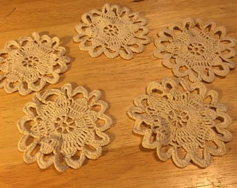 Hand Crocheted Doily Coasters - Set of 5