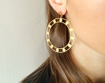 Embellished Hoop Earrings - Hypoallergenic Titanium