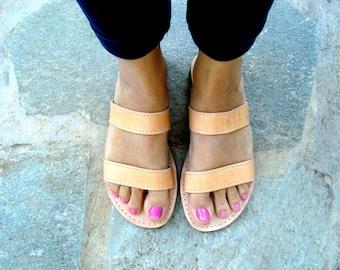 Sandales grecques, sandales en cuir, sandales en cuir grec, Womens sandales, sandales en cuir marron, sandales naturel, appartements d'été