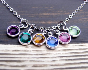 birthstone necklace, sterling silver filled, six birthstone charms, 6 Swarovski Drops necklace, mom jewelry, friends necklace, mothers gift