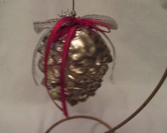 Vintage SILVER PLATE Pine Cone CHRISTMAS Ornament Old Stock MINt !