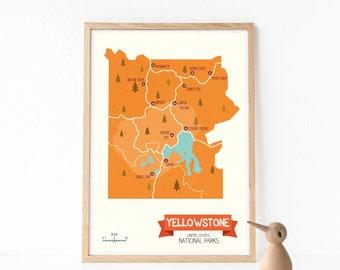 Yellowstone park, National parks print, National parks decor, Nursery wall art, Nursery wall decor, Kids room art, Art for kids