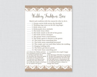 Burlap and Lace Wedding Traditions Quiz - Printable Rustic Bridal Shower Game - Why Do We Do That Quiz - Wedding Traditions Match 0003
