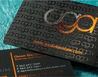 250 Business Cards - metallic foil options - 22 PT thick suede velvet laminated black stock  - spot UV - full color custom printed