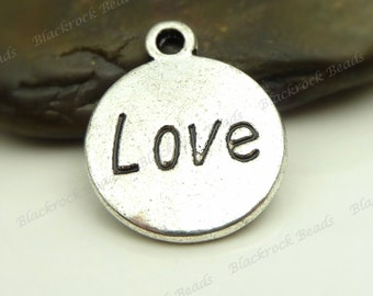 10 Love Charms ( Double Sided ) 18x15mm Antique Silver Tone Metal - Engraved Pendants - BA1