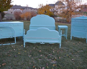 Turquois Blue 4 piece bedroom set  Dresser 410.00  Chest 390.00 full bed 450.00   table  mirror frame. vintage repurposed dovetail drawers.