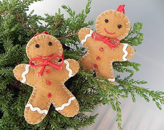 Felt Gingerbread Man Christmas Ornament Tree Decoration Holiday Decoration Cute Gingerbread Man Christmas Tree Decor Set of Gingerbread Men