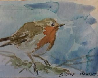 Winter Robin. Original watercolour