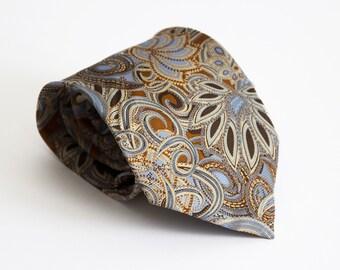 Vintage silk tie, classic mens necktie, silk neck tie, floral mens neck tie cravat cravatte / beige blue paisley tie