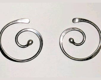 Sterling silver swirl circle post earrings