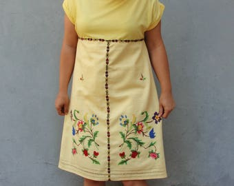 Bohemian Floral Dress, Sunny Yellow Dress, Vintage Embroidery, Linen, Flowers US size 8/10 EU size 38/40