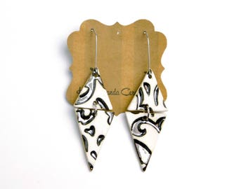 Swirl dangle earrings, two part earrings, white and metallic swirls, hypoallergenic ear wires