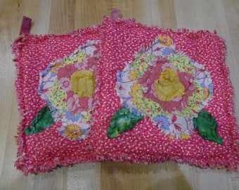 Rag Hot Pads,Handmade Hot Pads,Hot Pad,Cabbage Rose Hot Pads, Pot Holders,Pot Holder, Quilted,Cabbage Roses,Oven Mitts,Trivets
