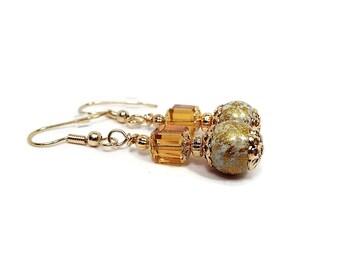 Golden Earrings, Orange Yellow, Metallic Gold, Gold Plated, Drop Earrings, Fancy Elegant, Cube Earrings, Clip on Earrings Lever Back Hook