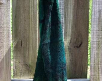 Cosmic Gas 08 OOAK - silver stellina merino knitted flat blank splotch green teal blue black grunge sock cosmos galaxy space sparkle