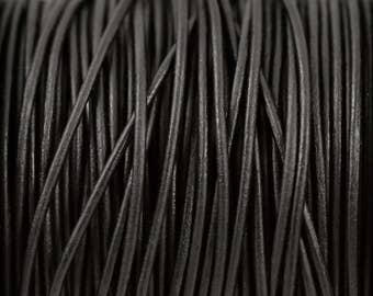 1.5mm Natural Black Leather Round Cord - Matte Finish