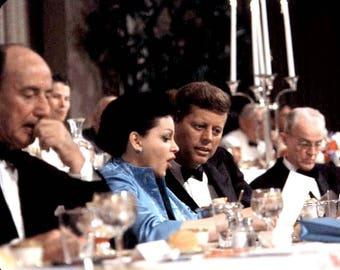 John F. Kennedy & Judy Garland, center, flanked by Adlai Stevenson 1960