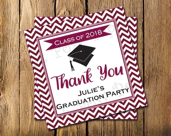 Printable Graduation Party Favor Maroon Chevron Gift Tags Class of 2018