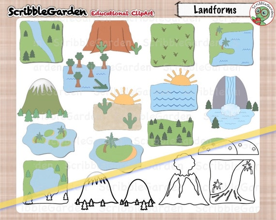 landforms geography clipart rh etsy com landforms and waterforms clipart landforms clipart black and white
