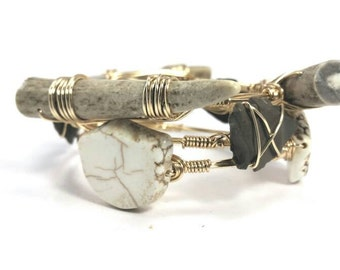 Deer antlers, agate arrowheads, and howlite set of 3 bangle bracelets, bourbon and bowties inspired bracelets
