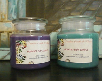 16 ounce all natural soy candles in various scents.  Very high quality and burns double the time of other leading candles!