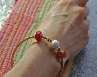 Elma - One size fits all copper cuff bracelet bangel with Carnelian beads, silver plated beads, gold plated beads, gift for her, fashion