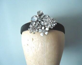 Fancy Satin Headband, Bling Headband, Black Satin Hair Band, Head Band Tiara, Party Tiara, Festive Prom Headband, One of a Kind Hair Jewelry