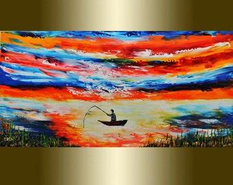 Fisherman Oil painting palette knife.