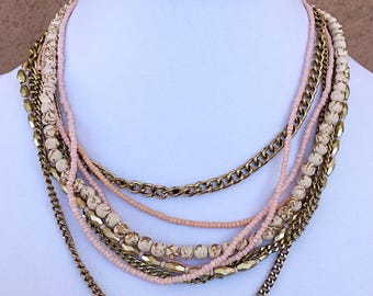 Peach and Gold Multi Strand Necklace/ Gold Chain Peach Beaded Multi Strand Necklace.
