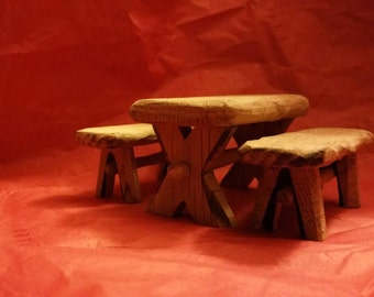 Table and benches in handmade oak