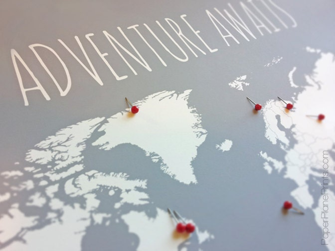 Diy travel map world map poster with tacks or heart stickers zoom gumiabroncs Choice Image