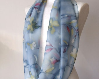Infinity scarf loop circle powder blue and spring flowers pastel and light feminine spring collection