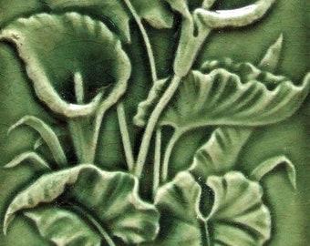 Antique Tile English Victorian Calla Lilies