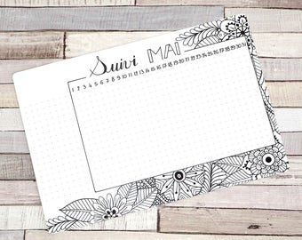 Habit Tracker Printable, May, Planner and Bullet Journal
