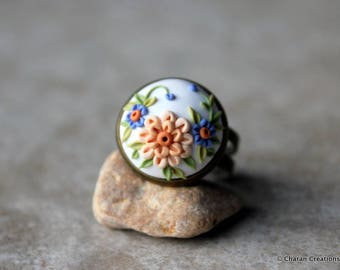 Beautiful Polymer Clay Applique Statement Ring in White and Peach