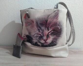 """""""Mini Lévis"""" velvet and faux leather bag"""