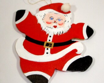 Vintage Wood Santa Ornament, Christmas Ornament, Holiday Decor, Package Tie  (778-13)