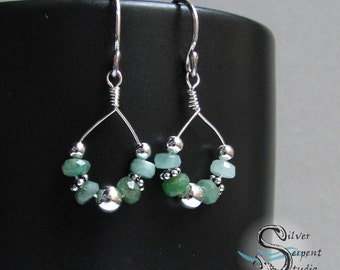 Emerald Bead Earrings - sterling silver, small loops, green