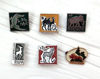 Zoo pins Soviet enamel metal badges brooch Vintage memorabilia zoo animals pin  deer  bison crocodile camel elephant zebra kids hipster gift