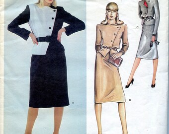 1980s VOGUE 2470 JACKET & SKIRT Pattern Asymmetrical Suit Jacket Dior Vogue Paris Original Bust 34 Size 12 UNCuT Womens Sewing Patterns