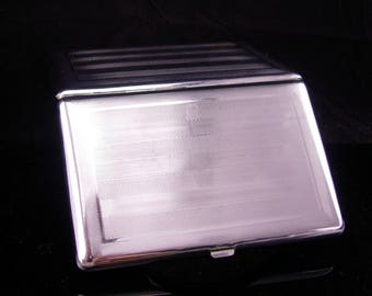 Vintage silver Cigarette case /  engine turned stripes / deco style / Cavalla Cigarette case / mens womens accessory / silver hinged case