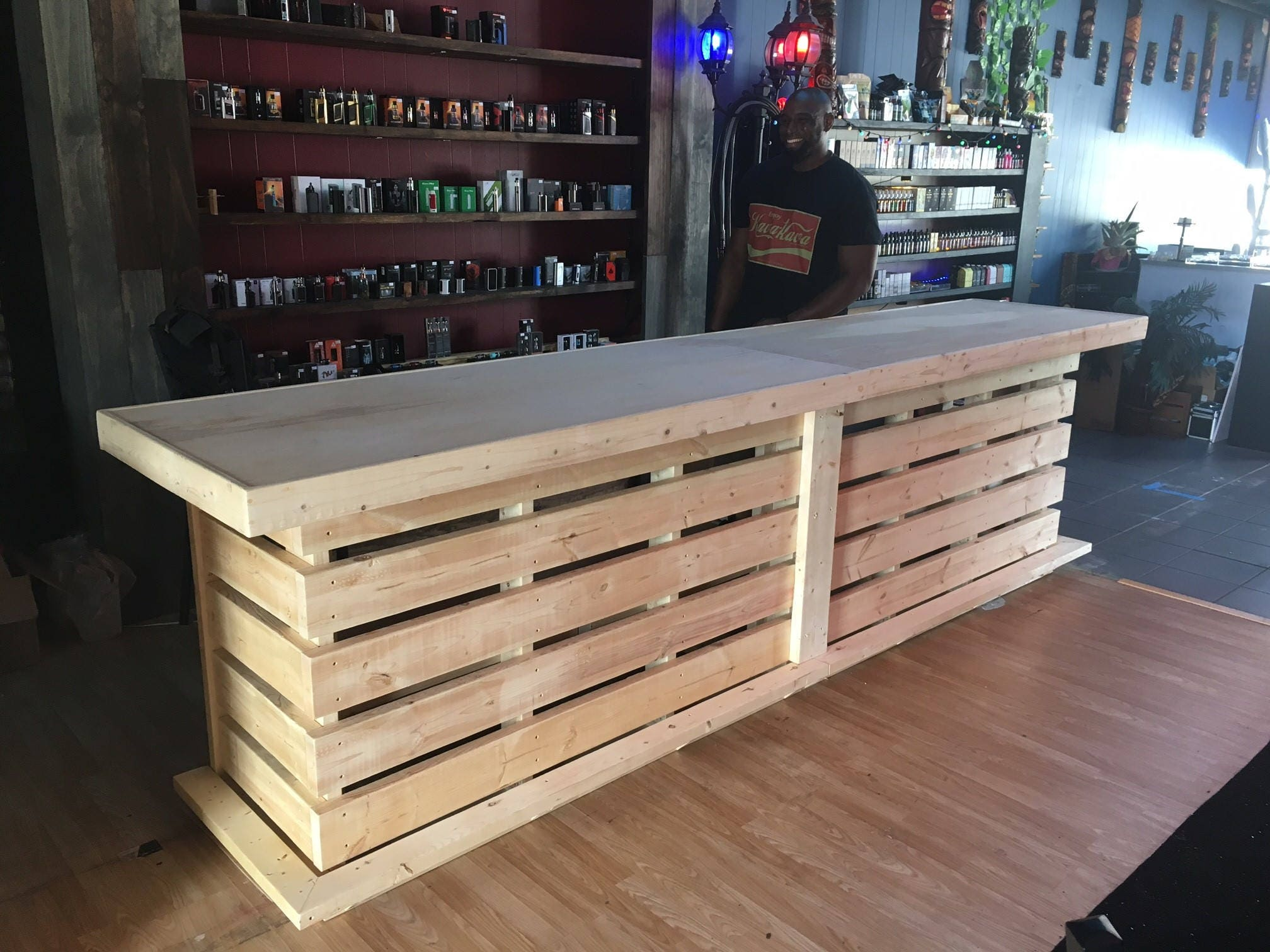 the whoadie pallet style rustic dry bar reception desk or. Black Bedroom Furniture Sets. Home Design Ideas