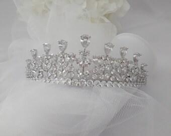 Wedding Tiara & Jewelry Set Wedding Tiara Silver Statement Crystal Wedding Jewelry Set Wedding Headband Headpiece Hair Chain Pin in Gift Box