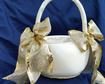 Gold, Ivory, White, Silver, Flower Girl Basket, customize your ribbon color