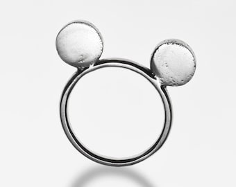 Handmade recycled silver Mickey mouse ring.